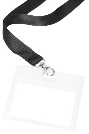 Blank badge or ID pass isolated on white background, clipping path included photo
