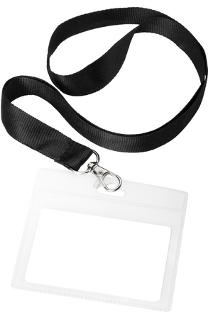 neckband: Blank badge or ID pass isolated on white background, clipping path included Stock Photo
