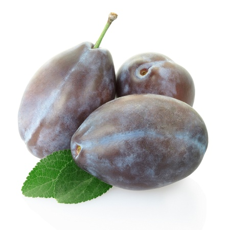 Plum group isolated on white, clipping path included photo