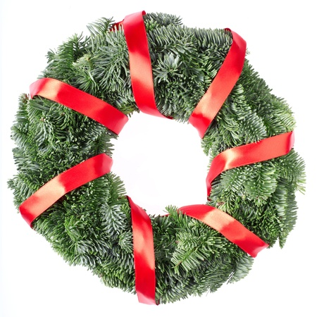 Christmas pine wreath isolated on white background photo