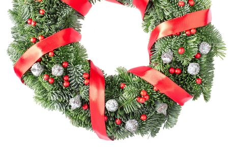 door leaf: Christmas pine wreath isolated on white background