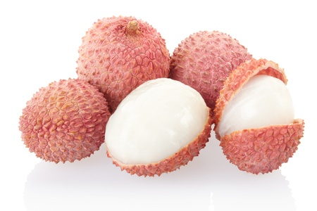 Lychees isolated on white, clipping path included photo