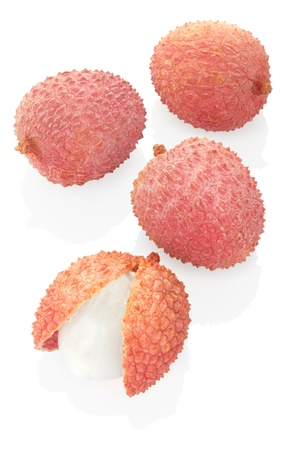 Lychee isolated on white, clipping path included photo