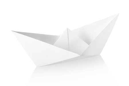 Paper boat isolated, clipping path included photo