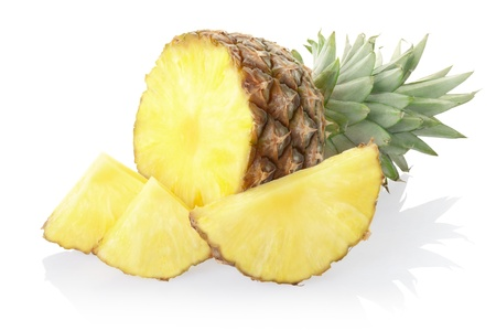 Pineapple section and slices