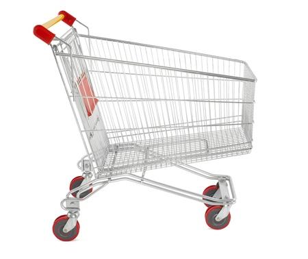 Shopping cart on white photo