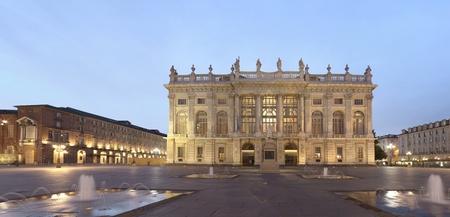 central square: Turin, Palazzo Madama, Italy Stock Photo