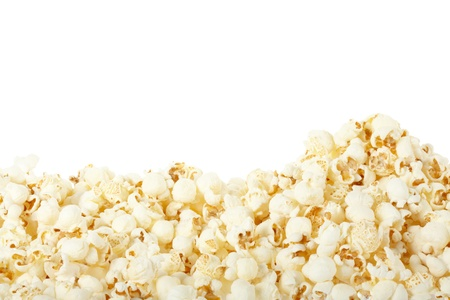 Popcorn frame on white, clipping path included photo