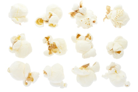 Popcorn collection on white, clipping path included photo