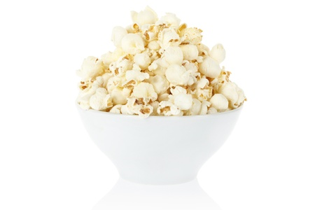 bowl of popcorn: Popcorn bowl isolated, clipping path included Stock Photo