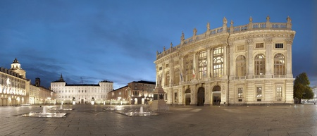 reale: Turin, Piazza Castello panoramic view, Italy Stock Photo