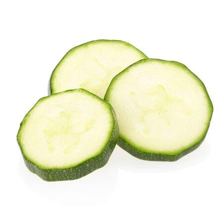Zucchini sliced isolated on white, photo