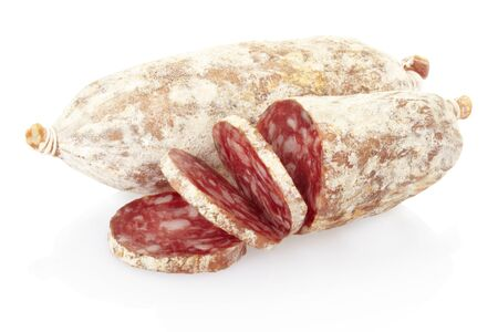 Salami on white photo