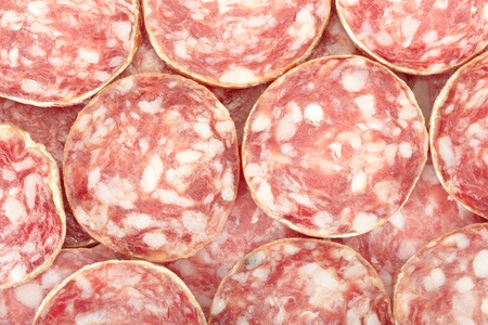Salami texture background photo