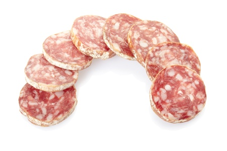 Salami isolated on white photo