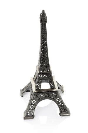 Eiffel tower souvenir on white background photo