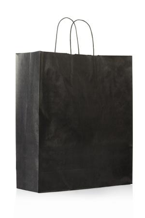 papier naturel: Sac de papier noir sur blanc