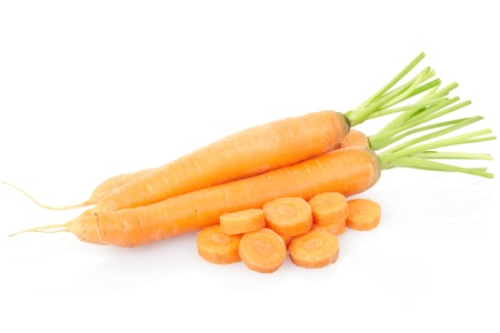 Carrots sliced on white Stock Photo - 13730286