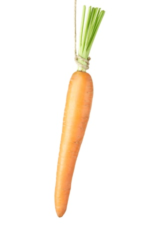 Carrot dangling isolated on white photo