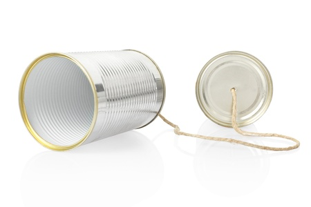 tin can phone: Can telephone isolated Stock Photo