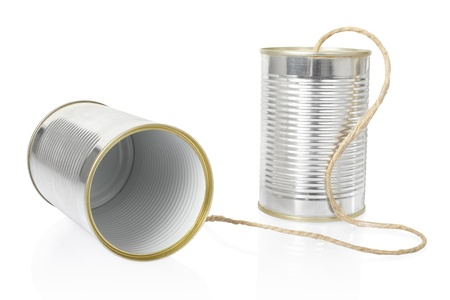 cans: Tin can phone on white