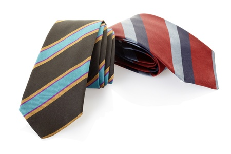 Striped necktie on white, clipping path included photo