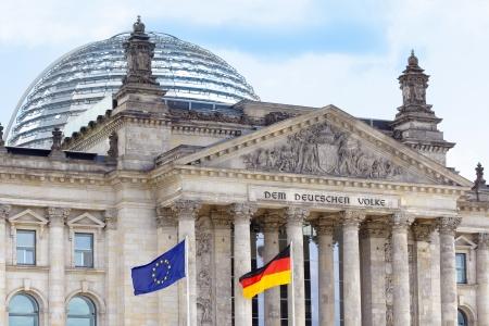 Reichstag, Berlin wih German and European flags