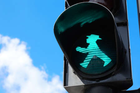 light red: Ampelmann traffic light in Berlin, East Germany
