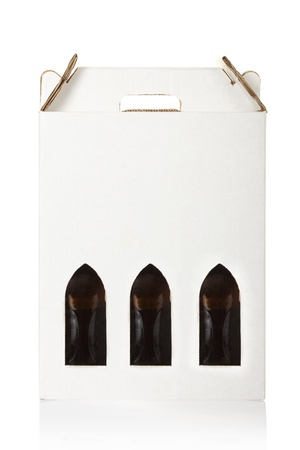 three gift boxes: Wine bottle crate isolated on white