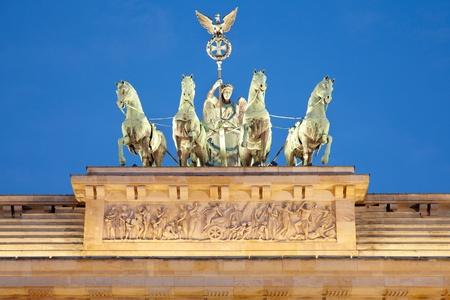 quadriga: Quadriga on Brandenburg Gate at night, Berlin