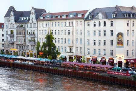 Bar on Spree river, evening in Berlin