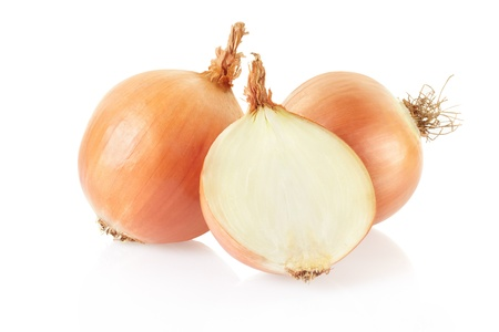Onions on white background photo