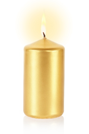 lit candle: Golden candle lit on white