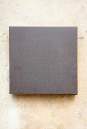 Blank elegant leather plaque on stone wall Stock Photo - 16379185