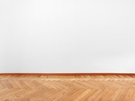 Parquet and empty white wall Stock Photo - 16378862