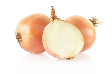 Fresh onions on white, clipping path included