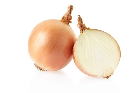 Onion bulbs on white background, clipping path included photo