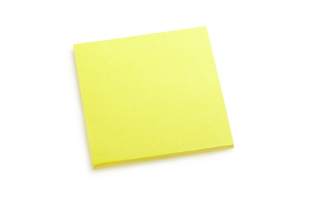 Yellow sticker note isolated on white, clipping path included Stock Photo - 16672865