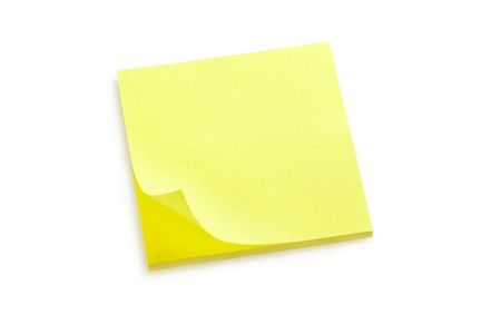 it background: Yellow sticker note isolated on white, clipping path included