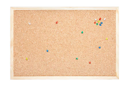 Cork board with pins on white, clipping path included photo