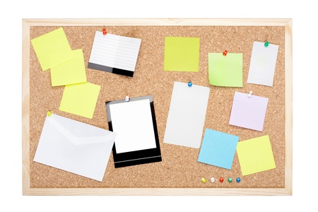 Cork board with blank notes on white, clipping path included photo