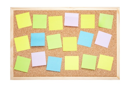 Cork board with blank notes on white, clipping path included Stock Photo - 17726906