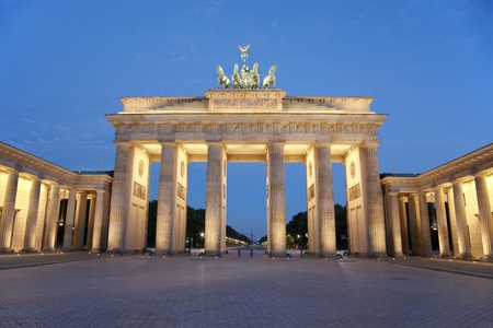 brandenburg: Brandenburg gate at night, Berlin, Germany