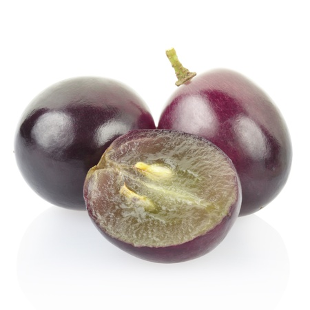 Red grape berries isolated on white, clipping path included