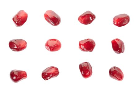 abstract seed: Pomegranate seed collection isolated on white  clipping path Stock Photo