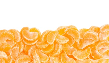 Tangerine segments frame, border on white with clipping path photo