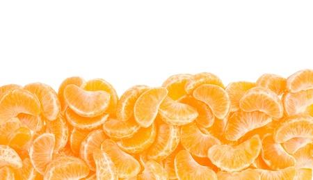 Tangerine segments frame, border on white with clipping path Stock Photo - 18022598