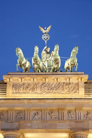 Brandenburg gate detail, quadriga at night, Berlin photo