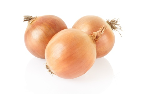 Fresh onion bulbs on white background, clipping path included photo