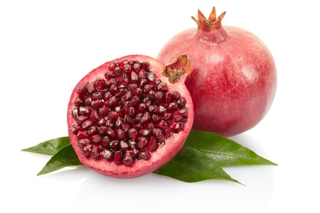 grenadine: Pomegranate with leaves on white with clipping path